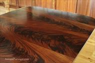 flame mahogany Veneers on a dining table
