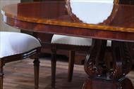 French style reproduction round back dining chairs shown with round mahogany dining table