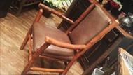 high end rustic twig chair with leather upholstery