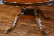 Henredon round to oval dining table from Ralph Lauren collection on custom birdcage pedestal