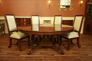 72 Round dining table with upholstered dining chairs