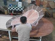 Mahogany furniture, traditional 72 round mahogany dining table shown in Indonesia factory