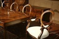 Round back dining chairs and table set