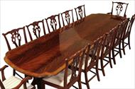 Antique reproduction dining table opens to 12 feet