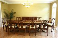 Reproduction, outlet priced, solid mahogany high end dining chairs