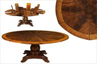 Mahogany jupe table, round expandable pedestal table