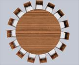 Round dining table consisting of mahogany veneers and mahogany solids