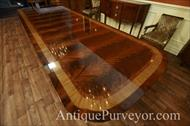 Extra large and wide mahogany dining table with stately inlays