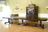 triple pedestal dining table for 18 people