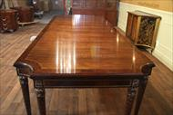 Scalloped corner walnut dining table seats 12