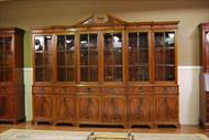 Custom 10 foot walnut finished mahogany china cabinet