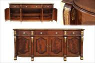 Gold accented large mahogany sideboard