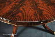 Large round flame mahogany dining table Veneer details