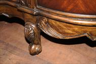 Antique reproduction kidney desk, foot details
