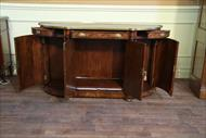 mahogany bow front side cabinet with storage