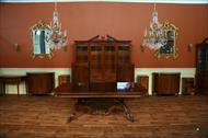 Reproduction antique conference table with mahogany apron and reeded edge