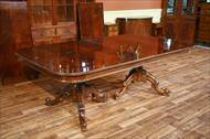 French Style mahogany conference table with blonde banding and reeded edge