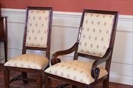 Antique style furniture with custom upholstery. High end upholstered luxury dining chairs.