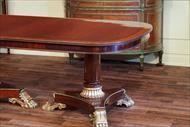 Double pedestal 12 seat mahogany dining table with fitted apron