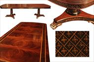Chinoiserie descorated mahogany dining table with brass lion paw feet