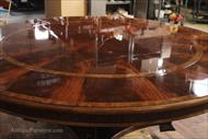 American finished perimeter table, extra large round mahogany dining table