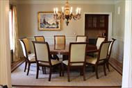 upholstered dining chairs and extra large round mahogany dining table