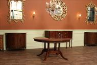 60 84 round mahogany dining table shown with no leaves