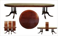 Round to oval mahogany table