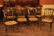 Set of 8 rustic or country kitchen chairs