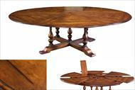 Extra large solid walnut jupe table seats 12 people, expansion table