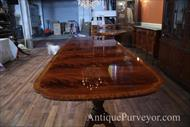 Inlaid mahogany table with three exensions seats 12 people