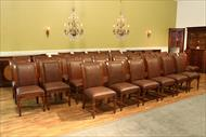 Solid walnut and leather chairs