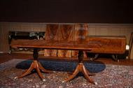 D shape mahogany double pedestal dining table