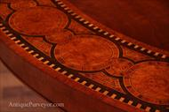 inlay details on round modern pedestal table