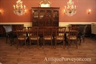 Rustic chairs with formal dining table