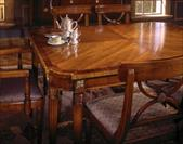 American made cherry dining table with notched corner and banding