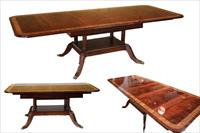 Custom American made dining table with self storing leaves