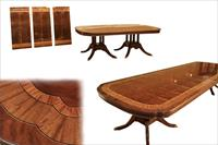 Large Double Pedestal Duncan Phyfe Dining Table