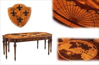 World map inlaid writing desk