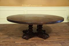 Large Round Walnut Dining Table with Rustic Finish
