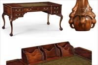 High end antique reproduction desk with secret pop up compartment.