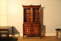 Theodore Alexander Laurel Burl and Mother of Pearl Inlaid China Cabinet Bookcase  6305-100