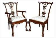 Solid mahogany Chippendale dining chairs