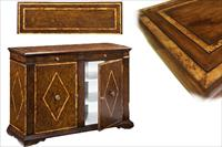 Burl inlaid solid walnut cabinet