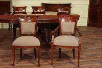 Upholstered dining chairs made from solid mahogany shown with diamond print fabric