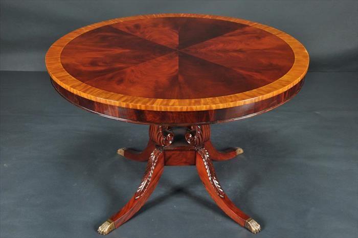 Round mahogany dining table 44 034 reproduction antique for 44 inch round dining table with leaf