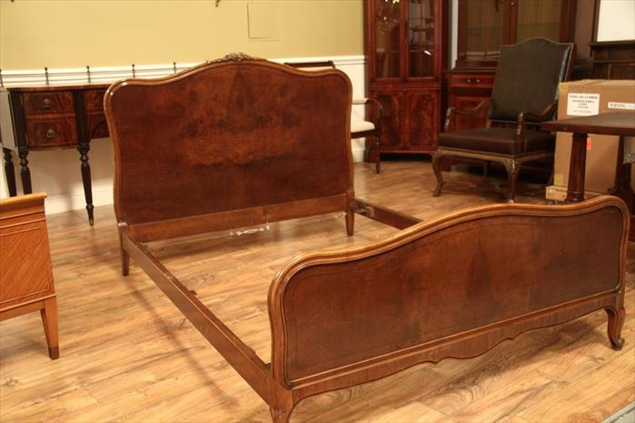 Antique French Walnut Full Size Bed Frame By John
