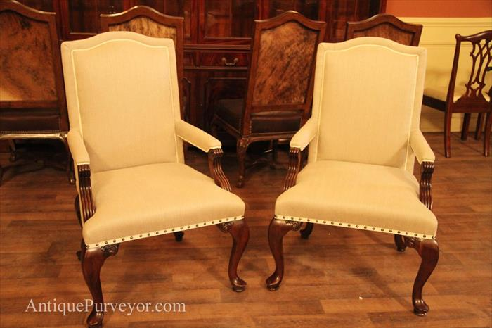 upholstered dining room arm chairs | Queen Anne Arm Chairs Upholstered with Neutral Linen ...
