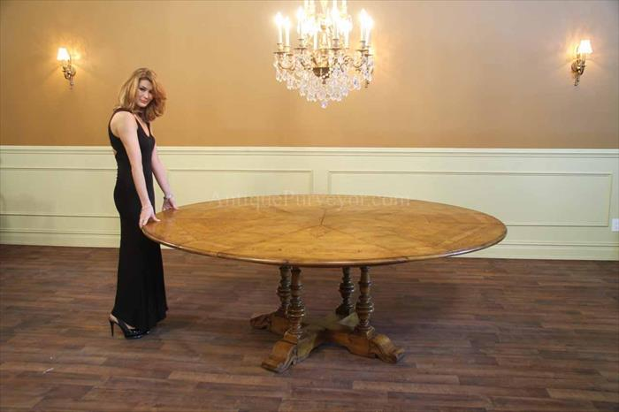 64 Inch To 84 Inch Round Solid Oak Dining Room Table With