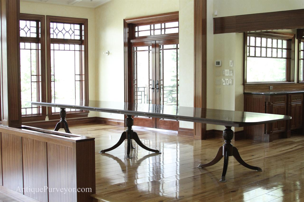 American Made Sheraton Style Mahogany Dining Table On Duncan Phyfe Pedestals